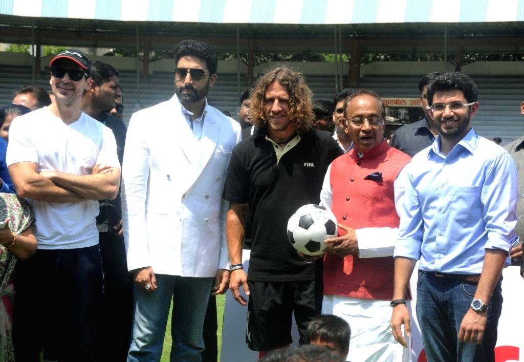 Union Minister for Youth Affairs and Sports Vijay Goyal inaugurates 'Mission XI Million Football Festival' at Shahaji Raje Krida Sankul in Mumbai on May 17, 2017. Also seen Yuva Sena chief ... - Abhishek Bachchan