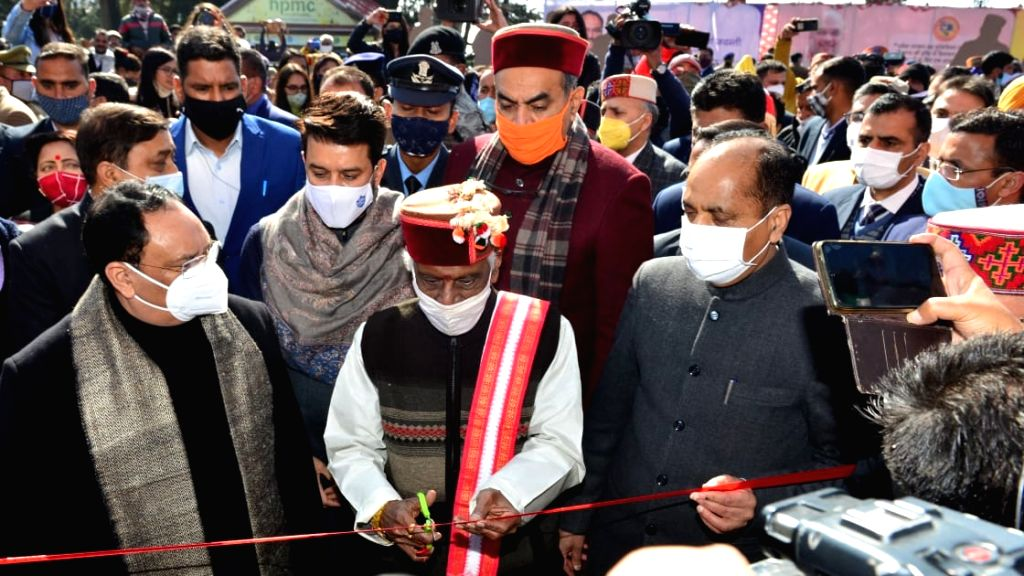 Union Minister Jai Ram Thakur of State for Finance and Corporate Affairs during the inauguration of exhibition put up by various departments on Golden Jubilee of the Statehood at The Ridge Shimla. - Jai Ram Thakur