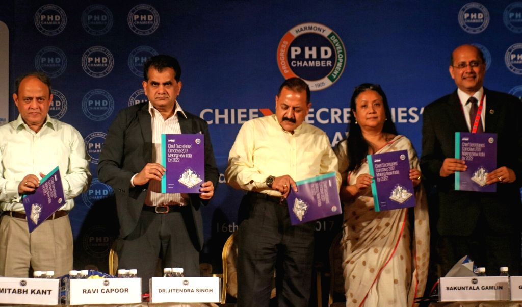"Union Minister Jitendra Singh during the Chief Secretaries' Conclave on ""Role of States, for Making New India by 2022"" organised by PHD Chamber of Commerce and Industry (PHDCCI) in New ... - Jitendra Singh"