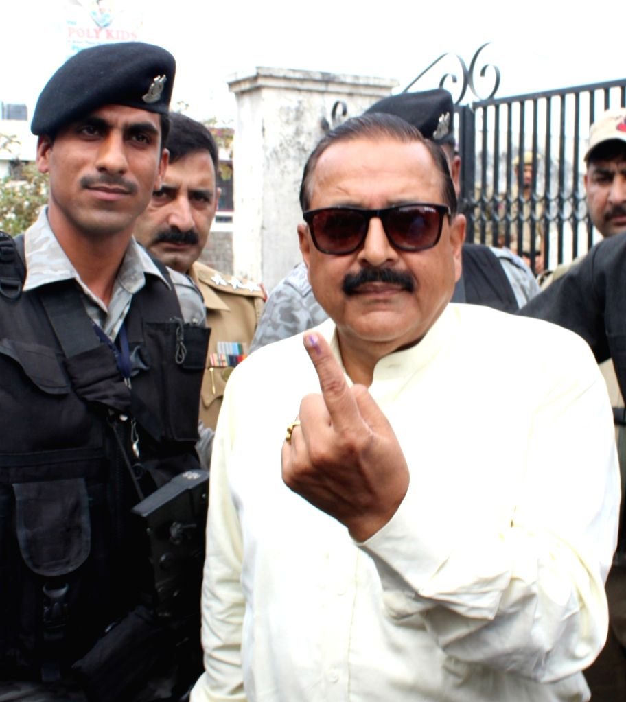 Union Minister Jitendra Singh shows his inked finger after casting his vote for the first phase of 2019 Lok Sabha elections, in Jammu on April 11, 2019. - Jitendra Singh
