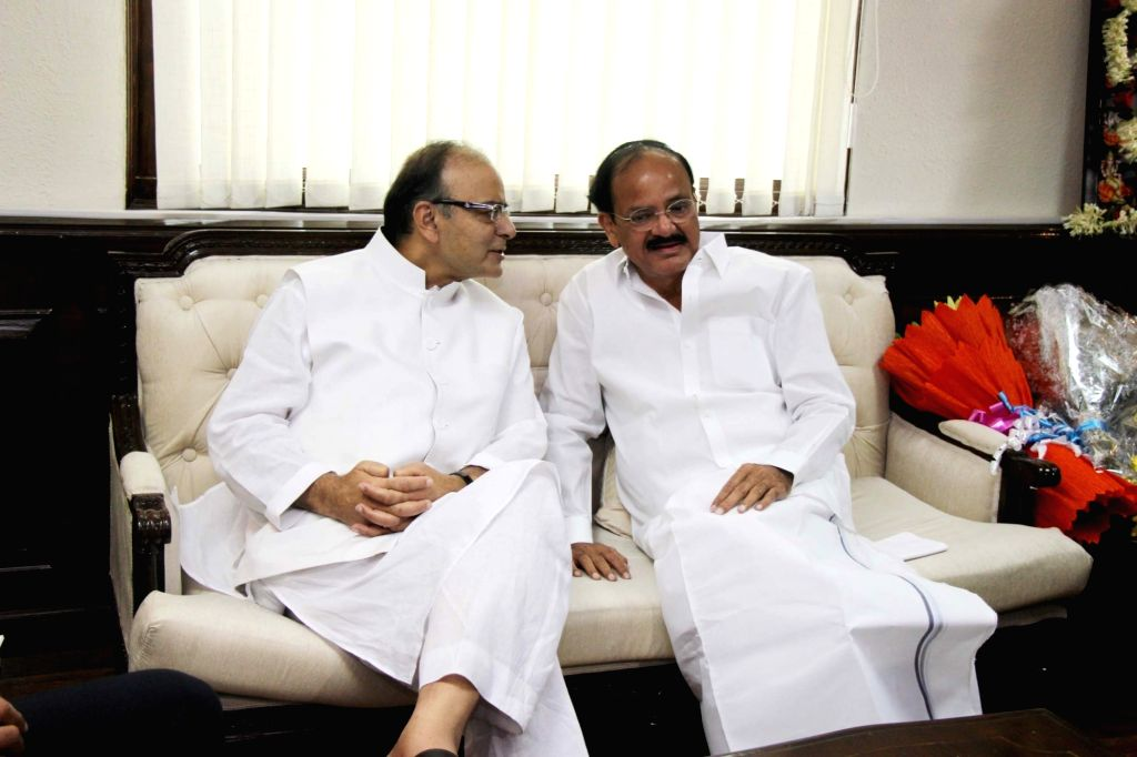 Union Minister M. Venkaiah Naidu with Union Minister for Finance and Corporate Affairs Arun Jaitley  as he assumes charge as Minister for Information & Broadcasting in New Delhi, on ... - M. Venkaiah Naidu and Affairs Arun Jaitley