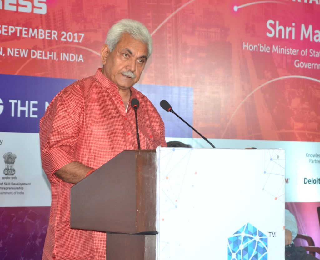 Union Minister Manoj Sinha addresses during the Curtain Raiser of India Mobile Congress 2017 in New Delhi on May 30, 2017. - Manoj Sinha