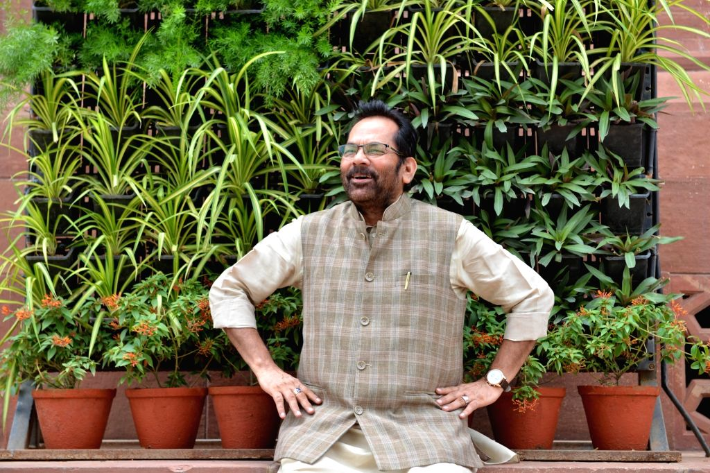 Union Minister Mukhtar Abbas Naqvi at Parliament, in New Delhi on July 16, 2019. - Mukhtar Abbas Naqvi