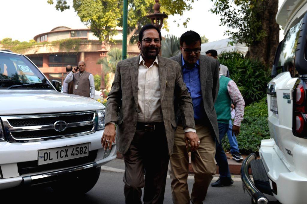 Union Minister Mukhtar Abbas Naqvi at Parliament in New Delhi on Dec 4, 2019. - Mukhtar Abbas Naqvi
