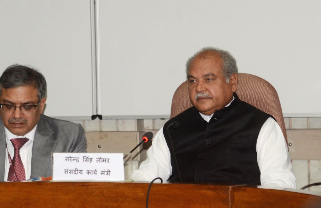 Union Minister Narendra Singh Tomar during an all party meeting called in the wake of Pulwama militant attack in New Delhi on Feb 16, 2019. - Narendra Singh Tomar