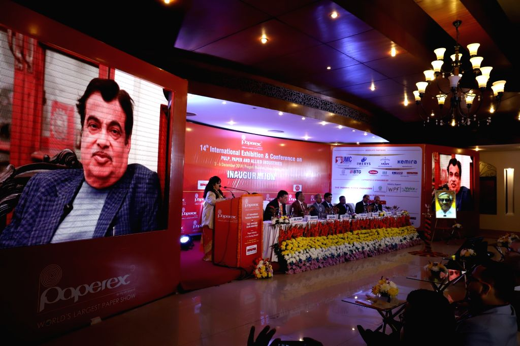 Union Minister Nitin Gadkari addresses during 14th International Technical Conference and Exhibition on Pulp, Paper and Allied Industry at Pragati Maidan in New Delhi on Dec 3, 2019. - Nitin Gadkari