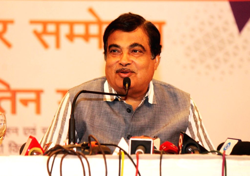 Union Minister Nitin Gadkari addressing a press conference on the achievements of the NDA government over the last four years in Nagpur on Jun 2, 2018. - Nitin Gadkari