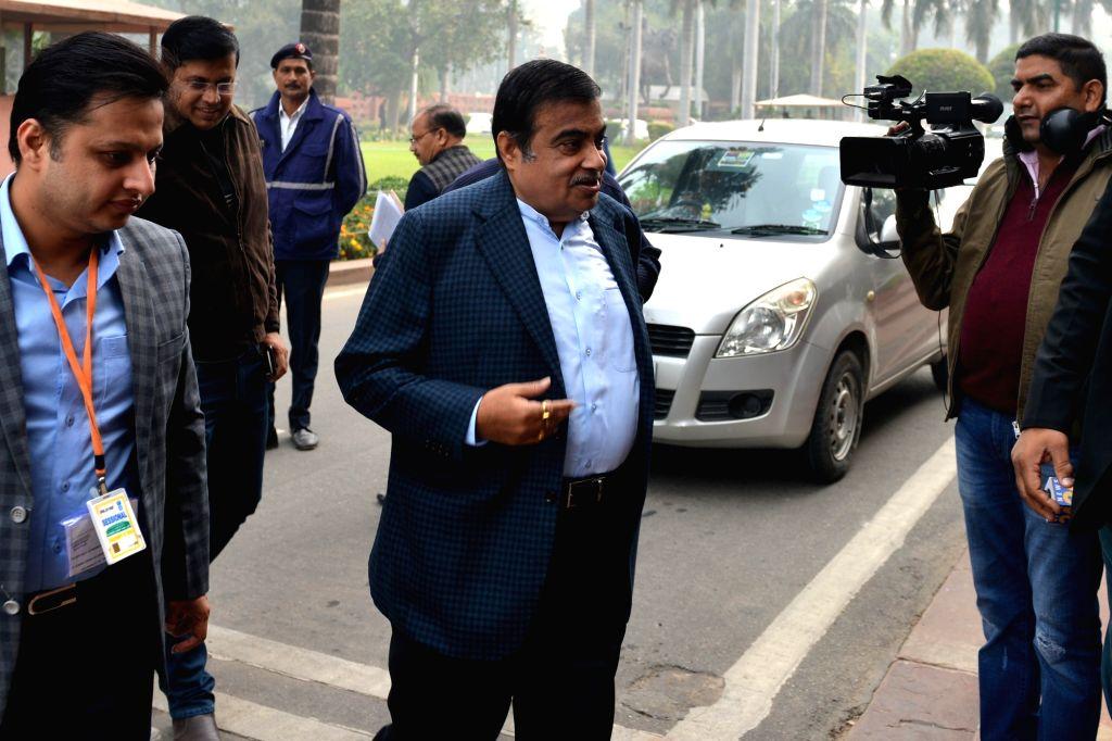 Union Minister Nitin Gadkari arrives at Parliament in New Delhi on Dec 12, 2019. - Nitin Gadkari