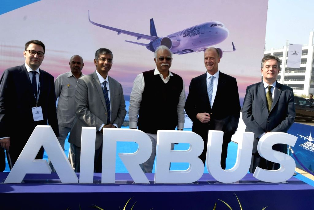Union Minister of Civil Aviation P Ashok Gajapathi Raju, Airbus CEO Tom Enders, Airbus in India Commercial Aircraft President Srinivasan Dwarakanath and Airbus in India President and MD ...