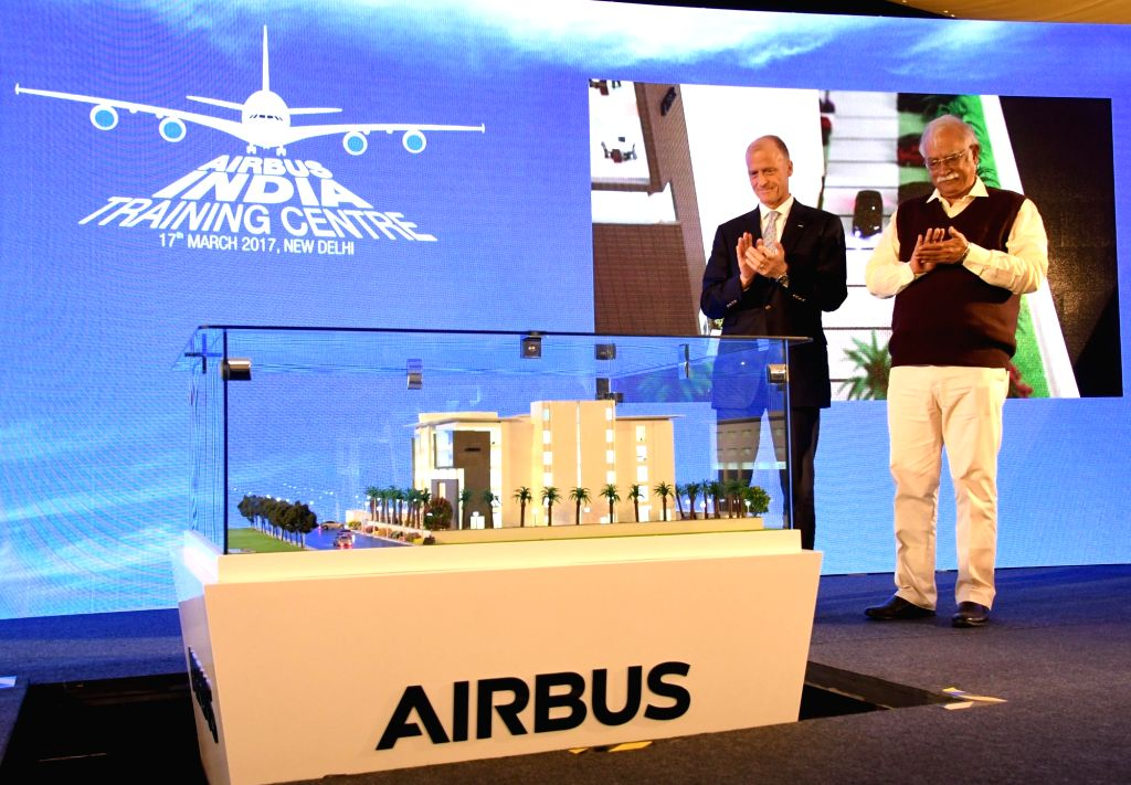 Union Minister of Civil Aviation P Ashok Gajapathi Raju and Airbus CEO Tom Enders unveil the Airbus India Training Centre at Aerocity, in New Delhi on March 17, 2017.