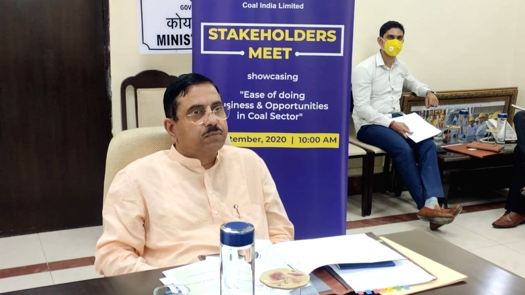 Union Minister of Coal and Mines Pralhad Joshi addresses a Stakeholders meet organized by CIL (Coal India Limited) through video conferencing, in New Delhi on Sep 1, 2020. - Pralhad Joshi
