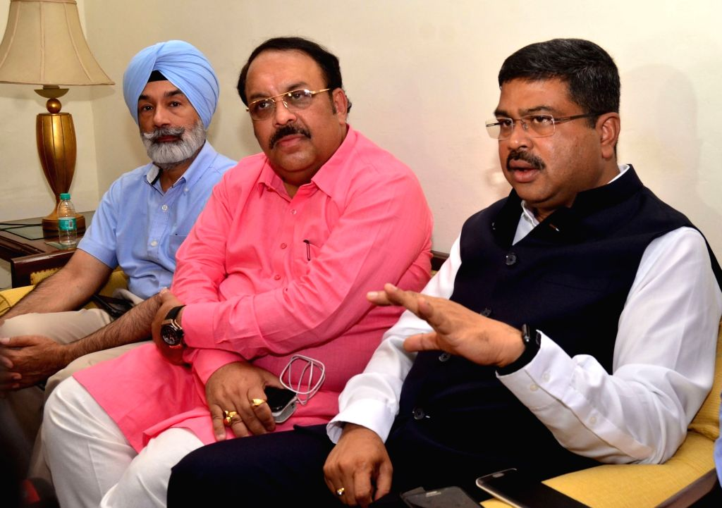 Union Minister of Petroleum and Natural Gas Dharmendra Pradhan talks to press after attending a meeting with Oil Marketing Companies (OMC) officials, in Amritsar on Sept 18, 2017.