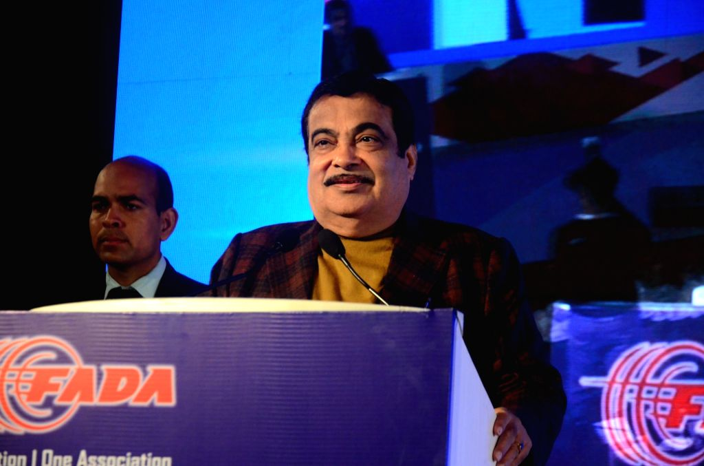 Union Minister of Road Transport and Highways Nitin Gadkari addresses during the 11th Auto Summit 2020, in New Delhi on Feb 7, 2020.
