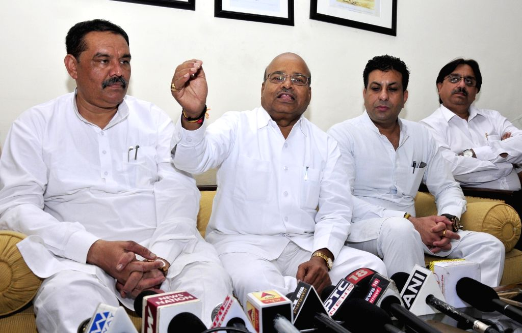 Union Minister of Social Justice and Empowerment Thawar Chand Gehlot addresses a press conference in Amritsar on June 16, 2017.