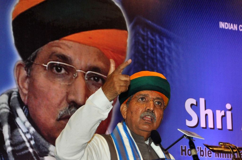 Union Minister of State, Finance, Corporate Affairs Arjun Ram Meghwal addresses during interactive session in Kolkata on Aug 12, 2017.