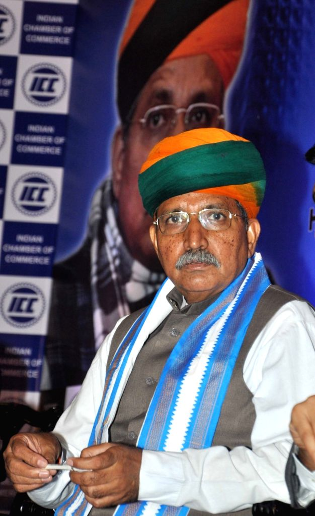 Union Minister of State, Finance, Corporate Affairs Arjun Ram Meghwal during interactive session in Kolkata on Aug 12, 2017.