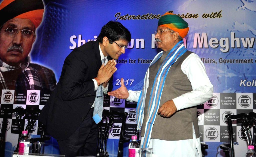 Union Minister of State, Finance, Corporate Affairs Arjun Ram Meghwal and Indian Chamber of Commerce President Shashwat Goenka during interactive session in Kolkata on Aug 12, 2017. - Shashwat Goenka