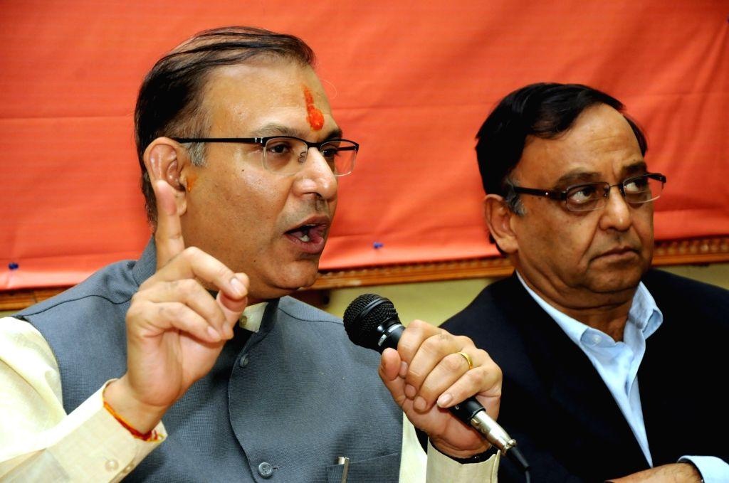 Union Minister of State for Civil Aviation Jayant Sinha addresses a press conference in Ranchi on Nov 27, 2016. - Aviation Jayant Sinha