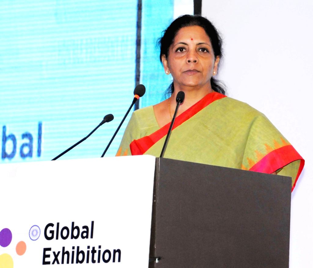 Union Minister of State for Commerce and Industry (Independent Charge) Nirmala Sitharaman addresses at the inauguration of the 2nd Edition of the Global Exhibition on Services-2016 (GES), at ...
