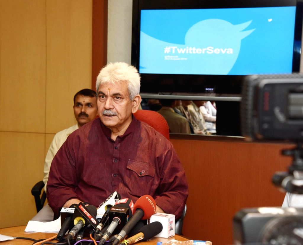 Union Minister of State for Communications (Independent Charge) and Railways Manoj Sinha addresses at the launch of #TwitterSeva - twitter service to address the common man's complaints ... - Manoj Sinha