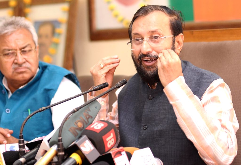 Union Minister of State for Environment and Forest Prakash Javadekar addresses a press conference in Lucknow on Aug 14, 2015.