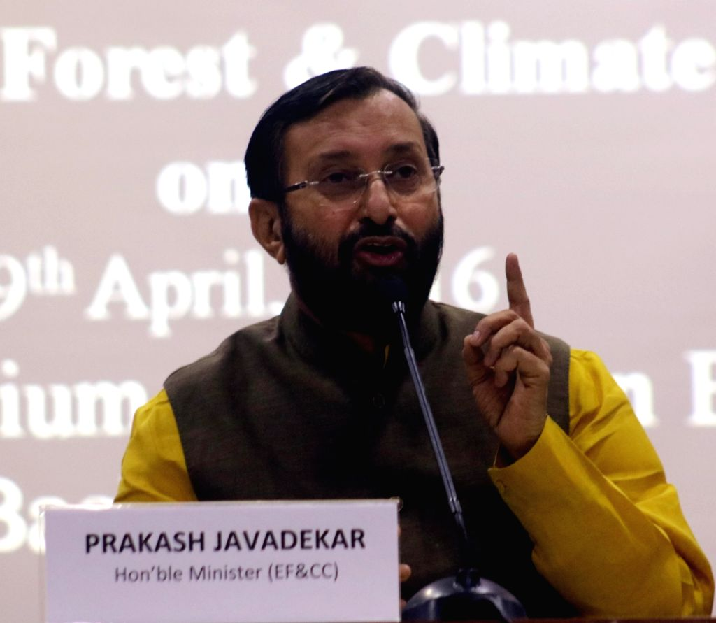 Union Minister of State for Environment, Forest and Climate Change (Independent Charge) Prakash Javadekar addresses a press conference on post-Paris agreement, in New Delhi on April 19, ...