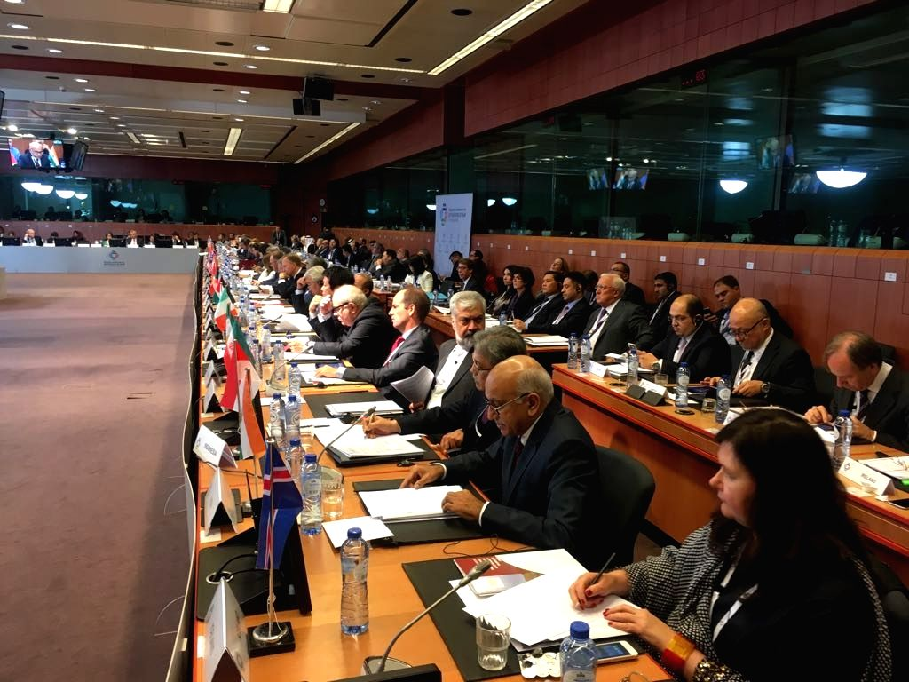 Union Minister of State for External Affairs M J Akbar addresses at the Brussels Conference on Afghanistan on Oct 5, 2016.The conference is being hosted by the European Union and the Afghan ...