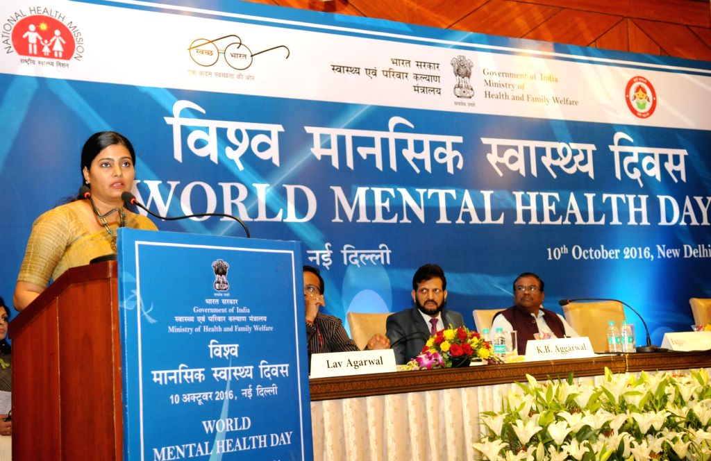 Union Minister of State for Health and Family Welfare Anupriya Patel addresses at a programme organised to mark the World Mental Health Day 2016, in New Delhi on Oct 10, 2016. - Welfare Anupriya Patel