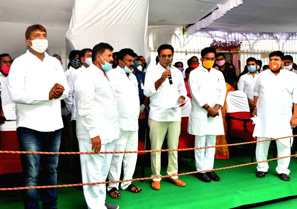 Union Minister of State for Home Affairs G. Kishan Reddy and Telangana Minister for Urban Development and Municipal Administration KT Rama Rao lay the foundation stones for the ... - Rao