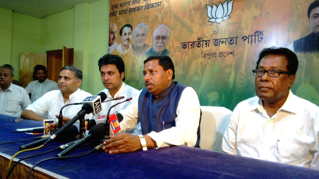 Union minister of state for human resource development Ram Shankar Katheria addresses a press conference in Agartala  on April 6, 2016.
