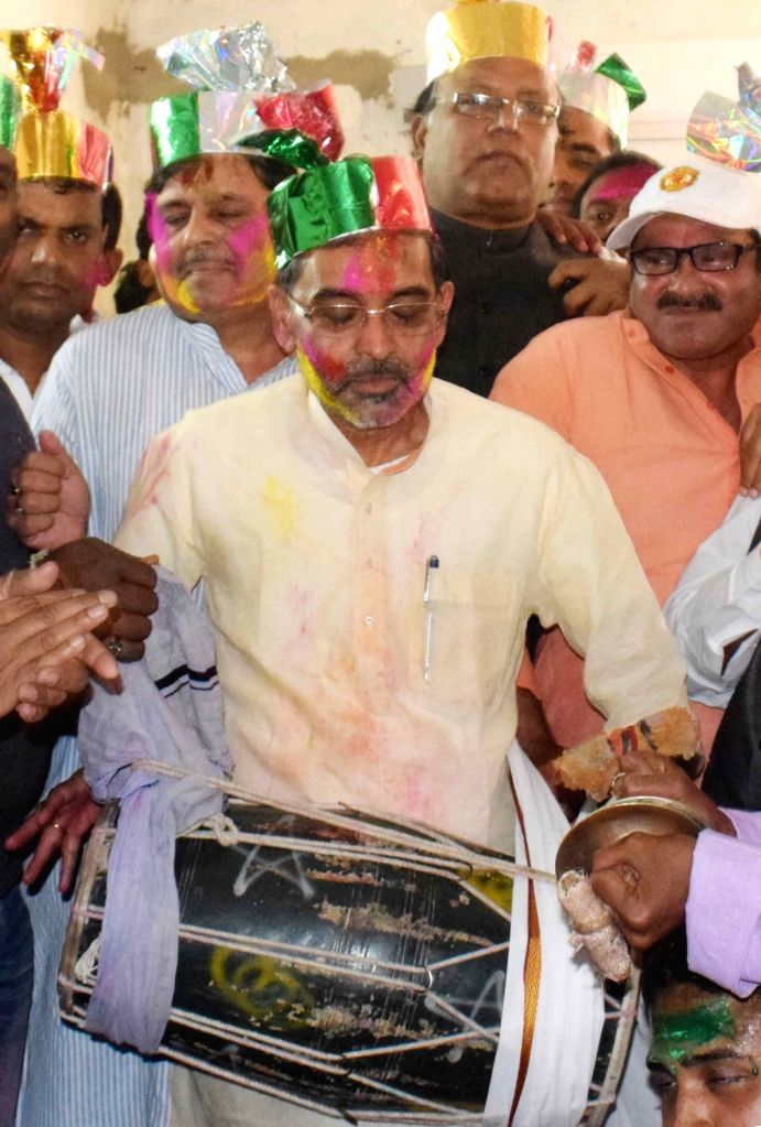 Union Minister of State for Human Resources Development Upendra Kushwaha during a 'Holi Milan Samaroh' in Patna on March 10, 2017.