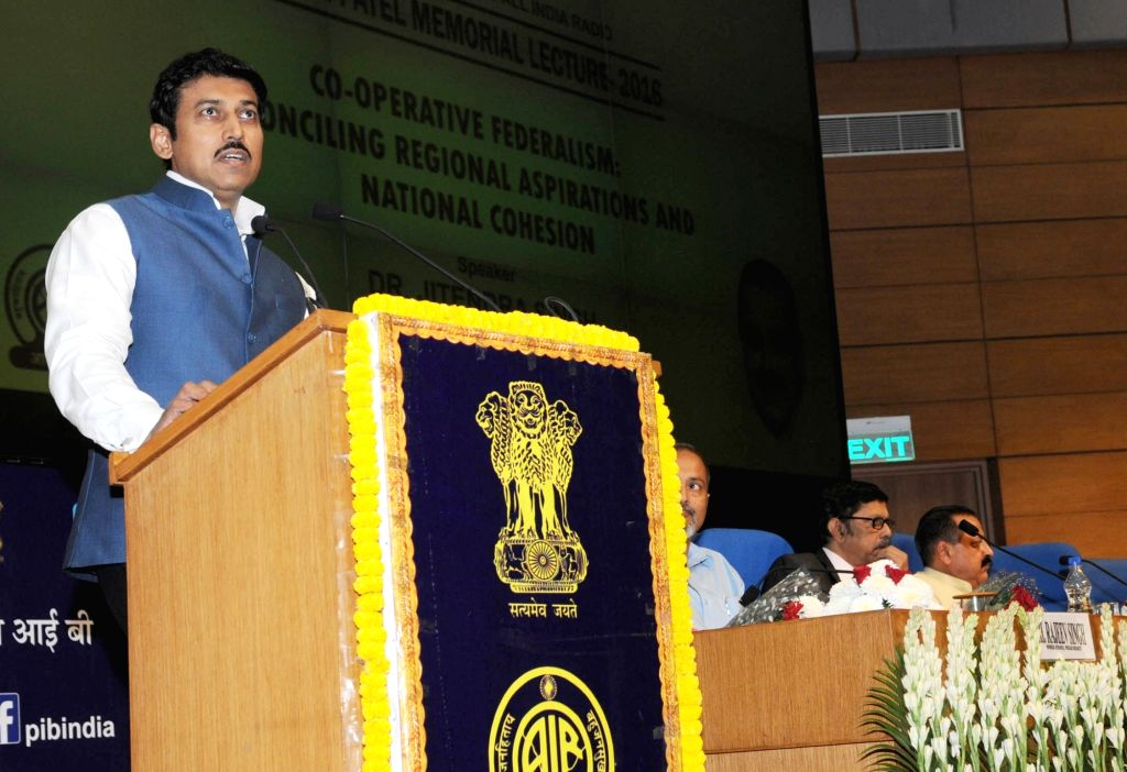 "Union Minister of State for Information & Broadcasting, Col. Rajyavardhan Singh Rathore addresses during Sardar Patel Memorial Lecture 2016 on ""Cooperative Federalism: Reconciling ... - Rajyavardhan Singh Rathore"