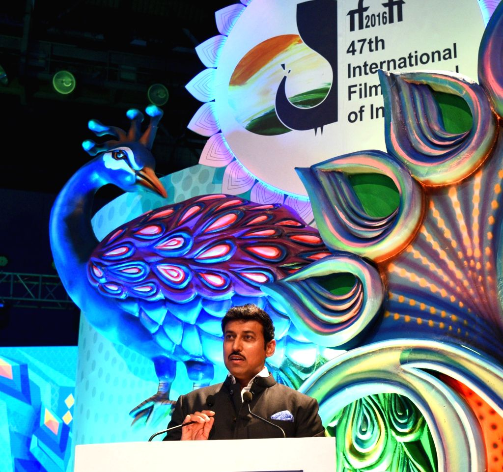 Union Minister of State for Information & Broadcasting, Col. Rajyavardhan Singh Rathore addresses during the closing ceremony of 47th International Film Festival of India (IFFI-2016) at ... - Rajyavardhan Singh Rathore