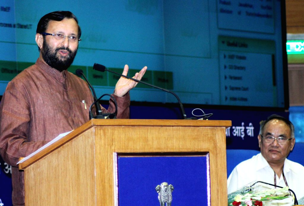 Union Minister of State for Information and Broadcasting (Independent Charge), Environment, Forest and Climate Change (Independent Charge) and Parliamentary Affairs, Prakash Javadekar addresses ...