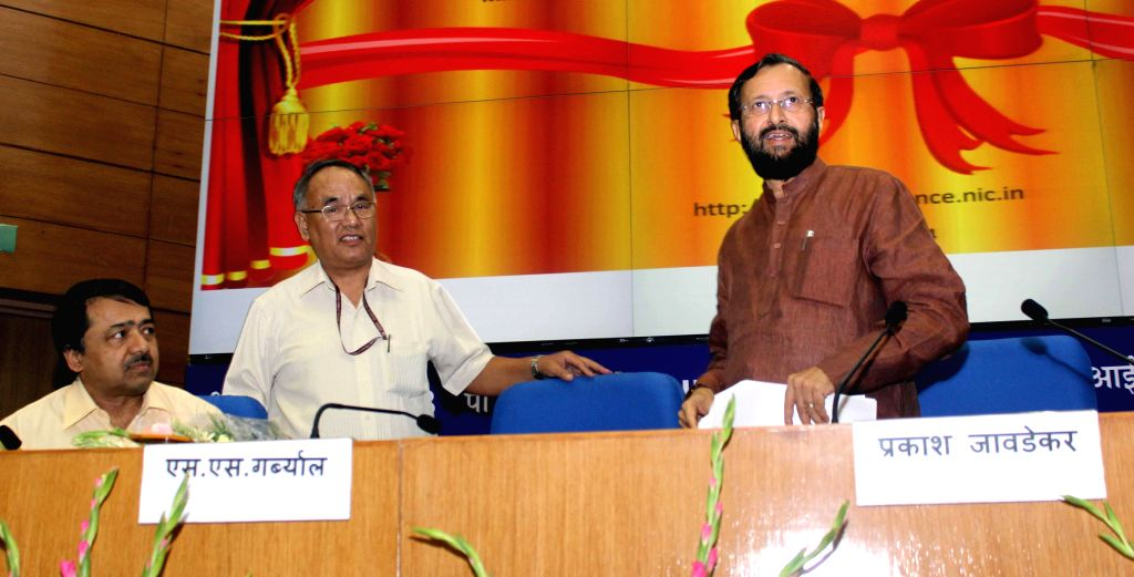 Union Minister of State for Information and Broadcasting (Independent Charge), Environment, Forest and Climate Change (Independent Charge) and Parliamentary Affairs, Prakash Javadekar during the ...