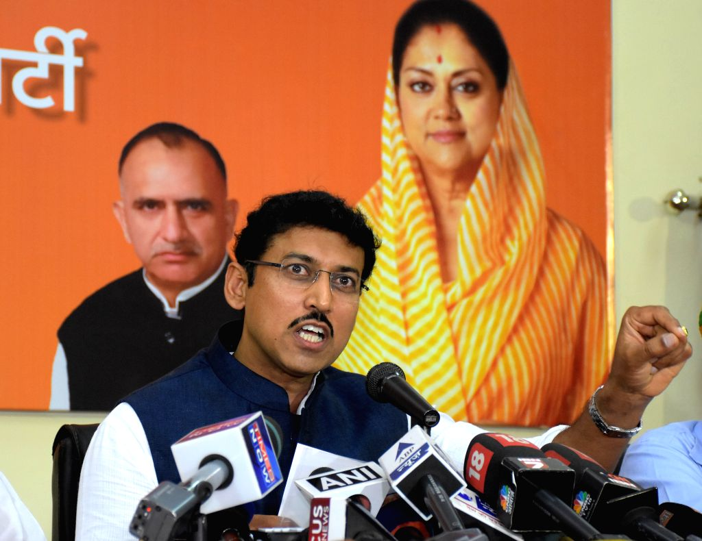 Union Minister of State for Information and Broadcasting Rajyavardhan Singh Rathore addresses a press conference in Jaipur, on Aug 14, 2015.