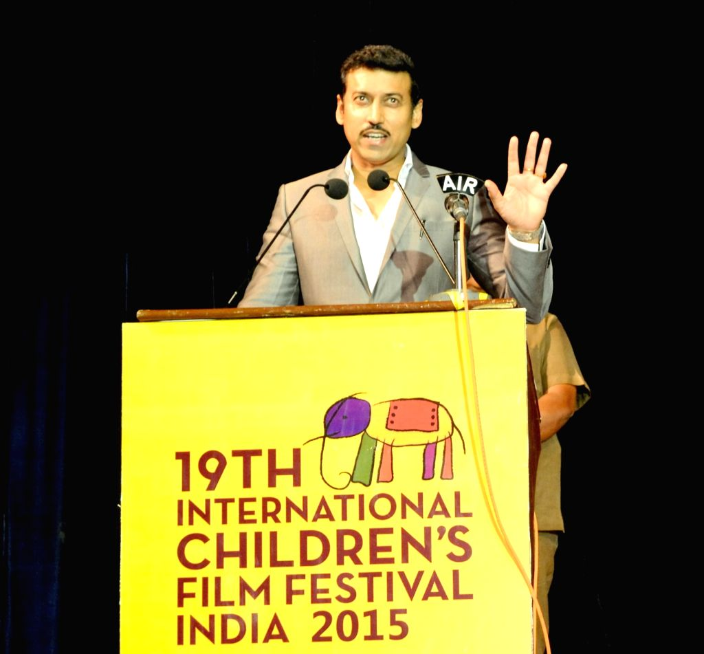 Union Minister of State for Information and Broadcasting, Col. Rajyavardhan Singh Rathore addresses at the inauguration of the 19th International Children's Film Festival of India, in ...