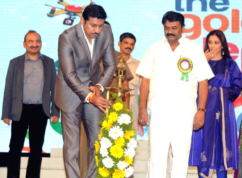 Union Minister of State for Information and Broadcasting Rajvardhan Singh Rathore during the 19th The Golden Elephant International Children`s Film Festival (ICFFI) in Hyderabad on ... - Rajvardhan Singh Rathore