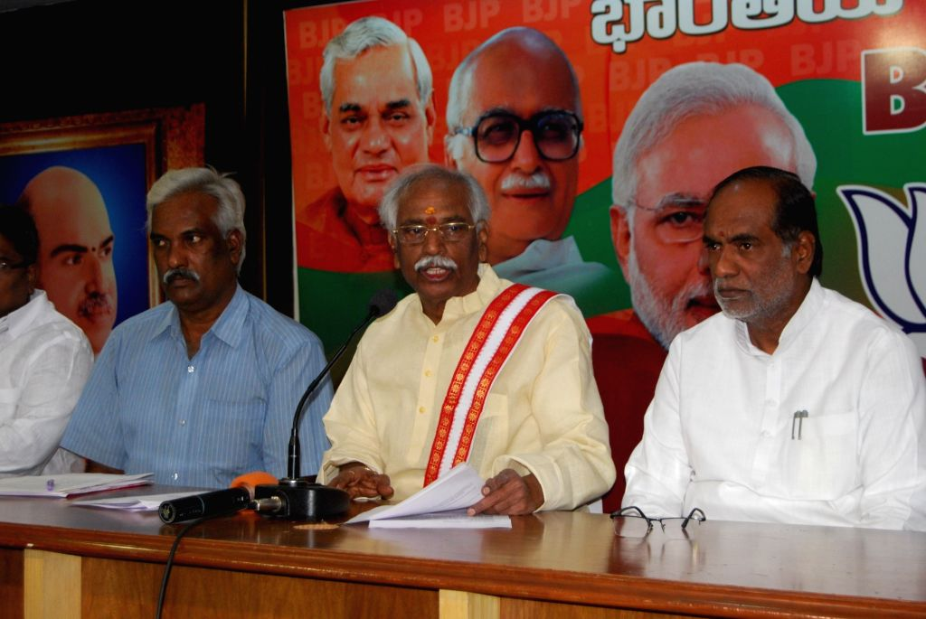 Union Minister of State for Labour and Employment Bandaru Dattatreya addresses a press conference in Hyderabad on Nov 15, 2015.