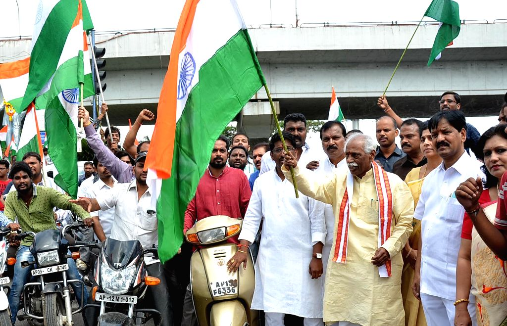 """Union Minister of State for Labour and Employment (Independent Charge) Bandaru Dattatreya flags off """"Tiranga Yatra Motorcycle Rally"""", organised by Nehru Yuva Kendra Sangathan, in ..."""