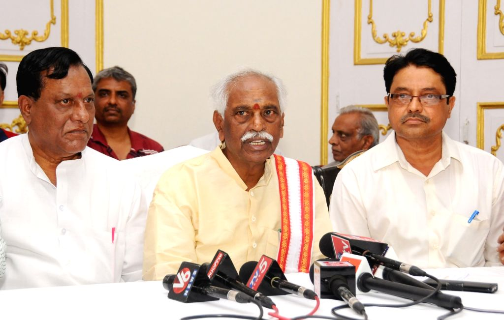 Union Minister of State for Labour and Employment Bandaru Dattatreya addresses a press conference at Telangana State Federation of Textile Associations, in Hyderabad on July 2, 2017.