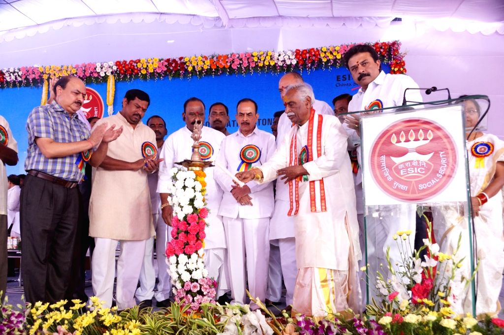 Union Minister of State for Labour Bandaru Dattatreya during foundation stone laying programme of an ESIC Hospital in Hyderabad, on Nov 28, 2015.