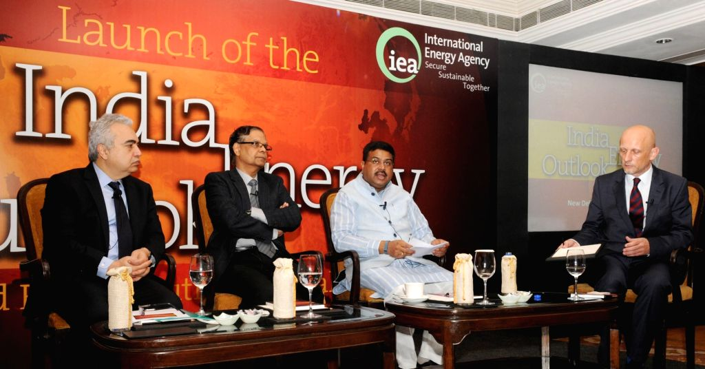 """Union Minister of State for Petroleum and Natural Gas (Independent Charge) Dharmendra Pradhan speaks at the launch of the World Energy Outlook special report """"India Energy ..."""