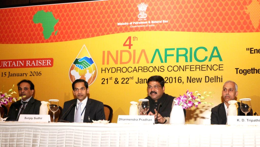 Union Minister of State for Petroleum and Natural Gas (Independent Charge) Dharmendra Pradhan addresses the curtain-raiser press conference on the 4th India-Africa Hydrocarbons Conference, ...