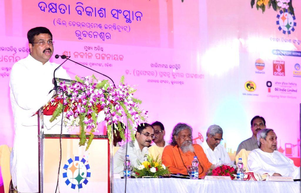 Union Minister of State for Petroleum and Natural Gas Dharmendra Pradhan addresses at the inaugural function of the newly established Skill Development Institute, at Bhubaneswar, in ...