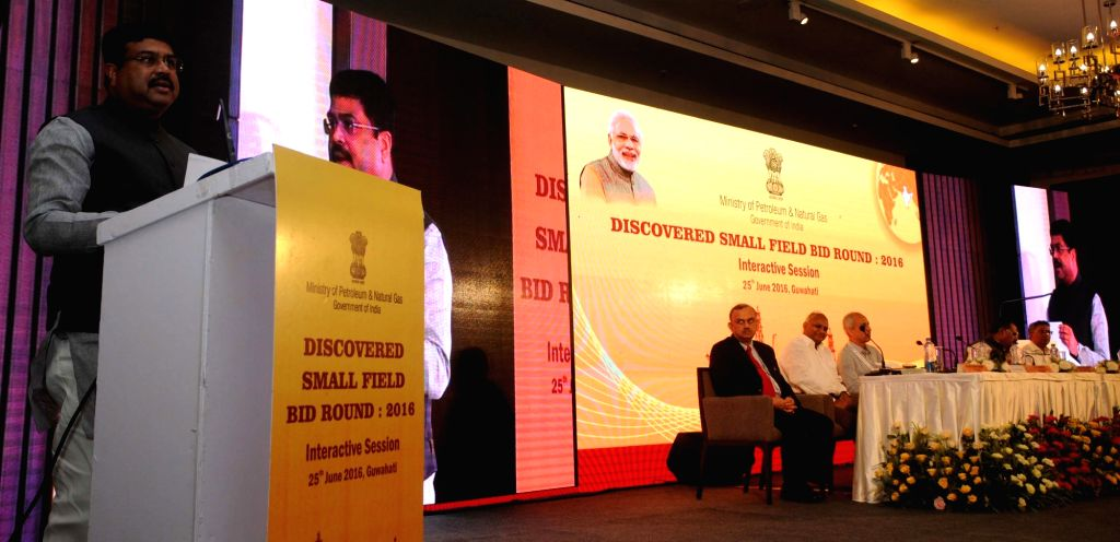 Union Minister of State for Petroleum and Natural Gas (Independent Charge) Dharmendra Pradhan addresses a press conference after inaugurating the Discovered Small Fields Bid Round 2016, in ...