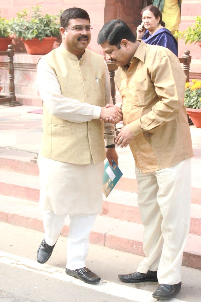 Union Minister of State for Petroleum and Natural Gas Dharmendra Pradhan at Parliament in New Delhi on Nov 30, 2016.