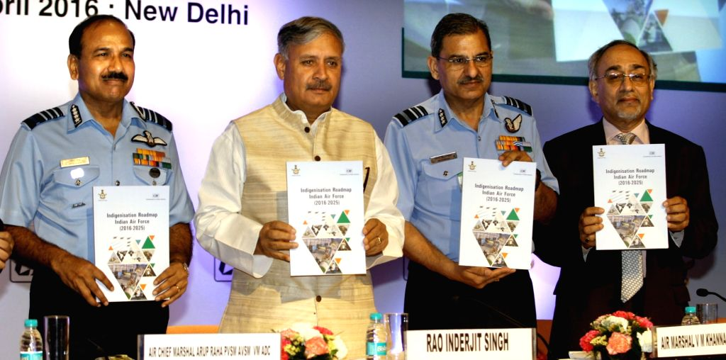 """Union Minister of State for Planning (Independent Charge) and Defence, Rao Inderjit Singh releases the Indigenisation booklet, at a seminar on """"Make in India Air Force"""", in New ... - Rao Inderjit Singh"""