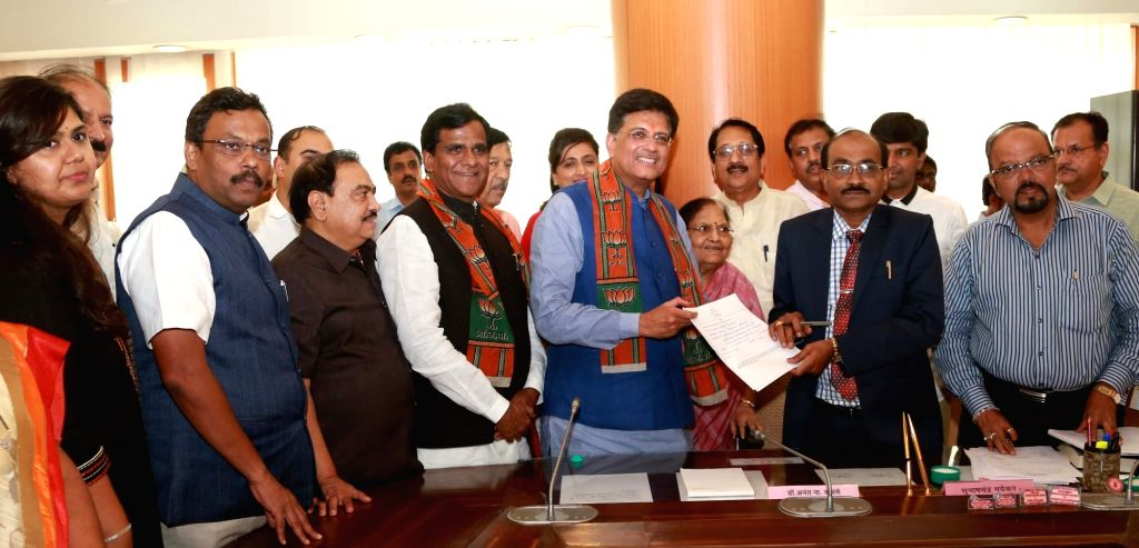 Union Minister of State for Power, Coal and New and Renewable Energy Piyush Goyal files his nomination paper for the Rajya Sabha elections at Maharashtra Assembly in Mumbai on May 24, 2016.