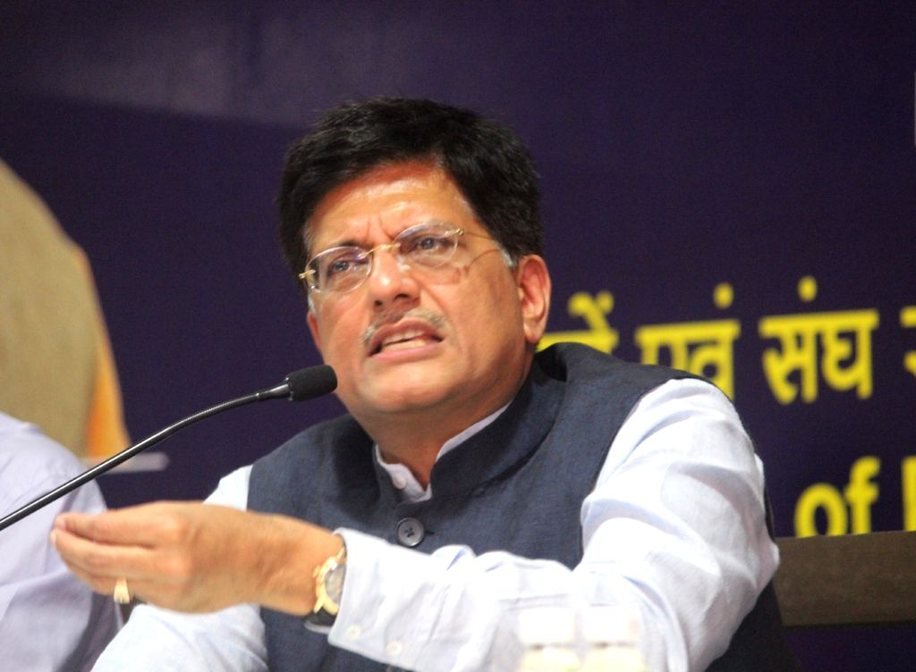 Union Minister of State for Power, Coal, New and Renewable Energy and Mines Piyush Goyal addresses a press conference after conclusion of two- day Conference of Power, Renewable Energy and ...